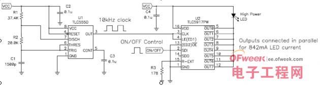 led 电流的简单 led 开/关控制时,下列电路使用随处可见的 555 定时器