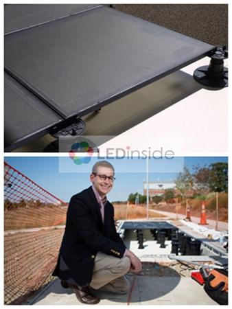 科技感十足:世界首条太阳能板LED人行道