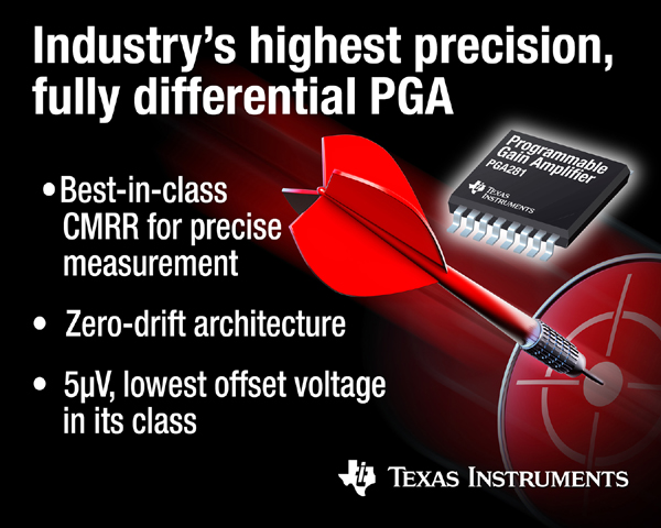 德州仪器推出业界最高精度的全差动可编程增益放大器