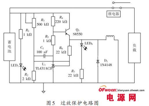 如图4所示,为过充保护电路,供电模块通过继电器为蓄电池充电,当电路