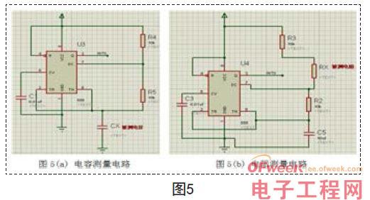 如图5所示,利用555和待测电容或者电阻组成多谐振荡器,555产生的周期性方波从Q引脚输出,然后接至单片机的外部中断INT0引脚,即P3.2引脚。测量时,两电路只有一个接至单片机,分别用于测量电容和电阻。   3.4 液晶显示电路