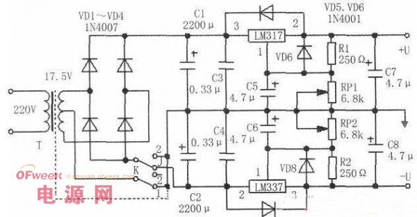 两用可变直流稳压电源设计电路图图片