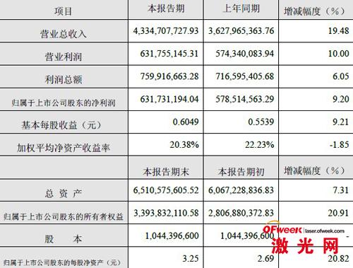 大族激光2012年度财务数据及指标
