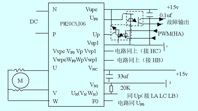 ipm接线如图2,n,p引脚接直流电源,直流电源信号经单相整流电路或直