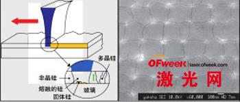 晶体随机垂直生长的原理图(左图)和ELA工艺中的典型晶粒模式(右图)