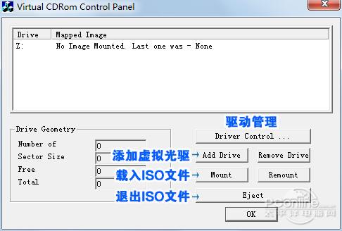 VirtualCD-ROMControlPanel的主界面和常用按钮注释