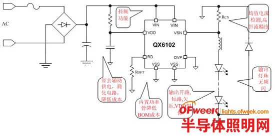 基于QX6102的非隔离型LED蜡烛灯方案