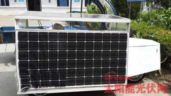 自制太阳能汽车 2块电池板就能跑一天