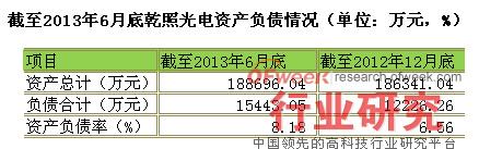 截至2013年6月底乾照光电资产负债情况(单位:万元,%)