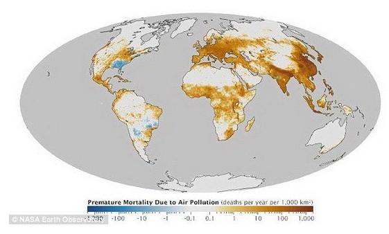 美国绘制全球空气污染地图 亚洲和欧洲最严重