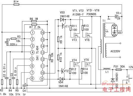 图4为外刊介绍的利用tl494组成的400w大功率稳压逆变器电路.