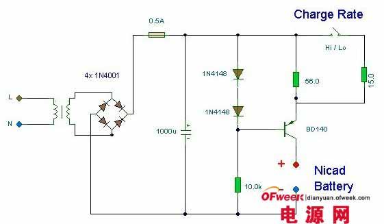 自动电池充电器电路图   充电器的红色和黑色鳄鱼夹的一端分别连接齐纳二极管的阴极和电路地。要对电池充电,可将红色鳄鱼夹接至待充电池的正极,将黑色鳄鱼夹接至待充电池的负极。接上交流电源,SCR1经R1得到触发,电池开始充电。当电池端电压充至12.6V时,ZD1击穿导通,n-p-n晶体管T1得到正偏也导通,使SCR1的栅极接地。SCR1截止,于是电池停止充电。   一般要先按自已充电电池的类型和电压选好相应充电器的种类、保护类型和输出电压、电流规格,然后再根据市网电压选取满足相应的输入条件的充电器。最好选用