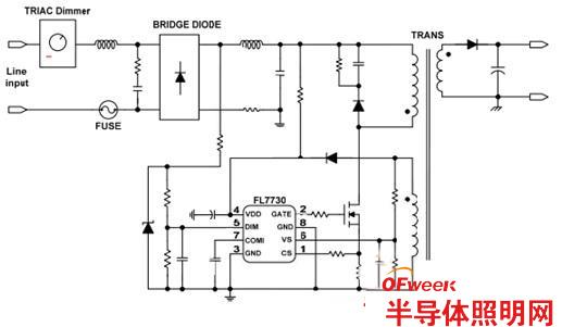 推荐6:FL7730可调光单级PFCPSR离线LED驱动器