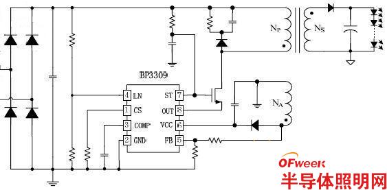 推荐7:BP3309原边反馈单级有源PFCLED驱动芯片