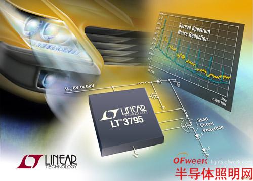 凌力尔特公司推出110V、高压侧电流检测DC/DC转换器LT3795,该器件用来将电流或电压调节至恒定值,非常适用于驱动高亮度(HB)LED。其4.5V至110V输入电压范围使该器件适用于多种应用,包括汽车、工业和建筑照明。