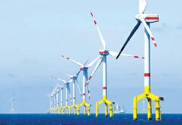 位于北海上的海上风电场的风力涡轮机还没联入电网