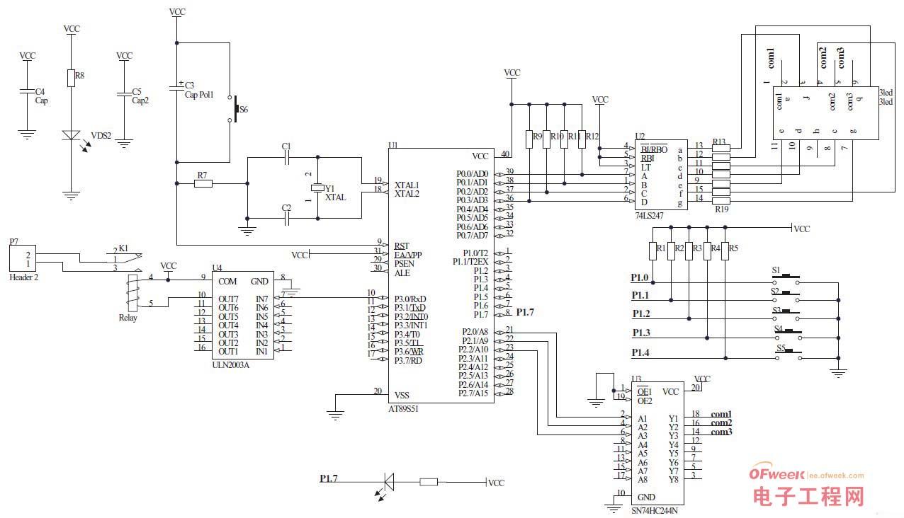 图2 电路原理图(点击可查看大图)   1. 输入部分()   输入部分有五个按键组成,分别是分钟+10、分钟-10、小时+1、小时-1和设置完成按键。定时器的初始值是8小时。   使用前,先通过这五个按键进行定时时间的设置,分钟设置键的分辨率之所以10分钟为一个步进阶梯完全是考虑的实际的需要,因为无论是电动车还是手机,都没有必要以一分钟为单位,当然,使用者可以根据自己的需要动手修改程序,已达到自己的要求。   本制作所使用的按键均为四脚封装常开型按键,使用前需通过万用表对引脚进行测量来确定那组引脚作为