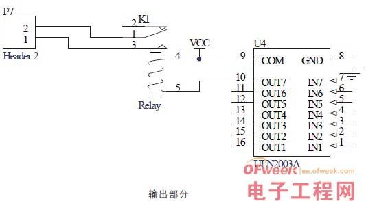 图6 输出部分   它其实就是集成了七个继电器驱动的集成电路,所以本制作可以扩展输出七个继电器,能满足七个用电器的七种不同定时,当然,要实现此功能还需要修改程序。读者也可以用分立元件来替代ULN2003A。   实物图及PCB版图如图7~图9所示。