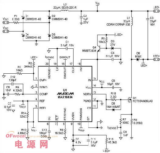 一款MR16 LED灯驱动设计参考方案