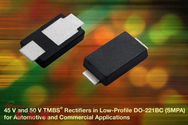 Vishay推出用于汽车等领域的45V/50V TMBS整流器