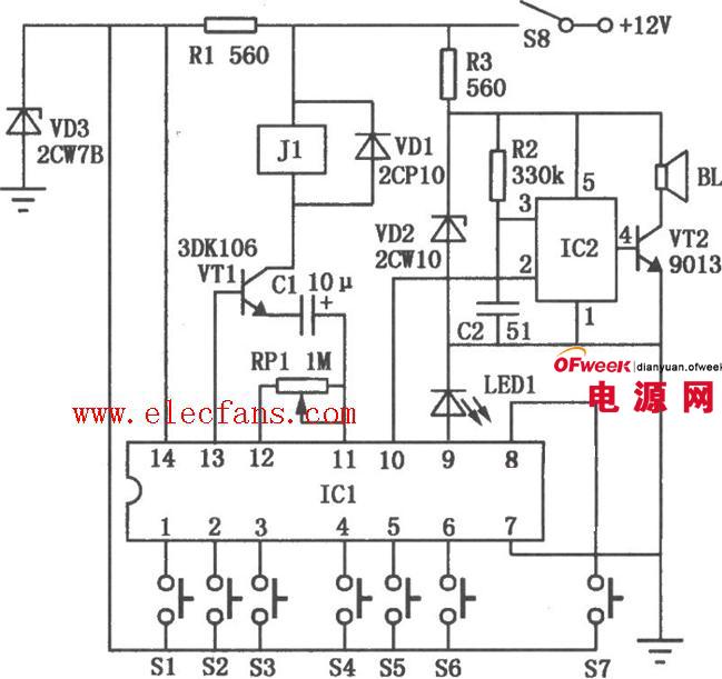 电路sr8803a工作而使扬声器bl发出语言报警.汽车电子密码锁高清图片