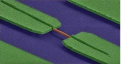 IBM研发出可为未来芯片赋予光学性能的应变GaAs纳米线(橙色部份)。