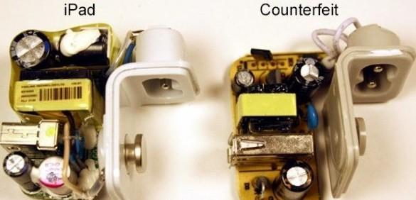 左边为原装充电器,右边为山寨货。   接下来我们再来围观一下两种充电器的电压、电流性能,原装充电器依旧变现稳定,干净的电流能够有效保护电池,而山寨货则截然相反,不仅电压缺乏稳定,且电流杂讯严重。