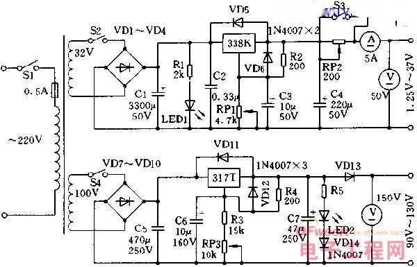 DIY:维修充电两用稳压电源电路图