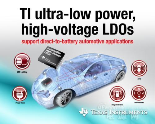 德州仪器面向电池直接供电汽车应用推出超低静态电流高电压LDO