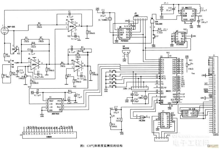 op90具有内部调零电路.允许仪器放大器提供真正的零输入零输出操作.