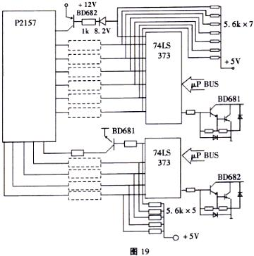图19是一个led点阵显示器驱动电路之例