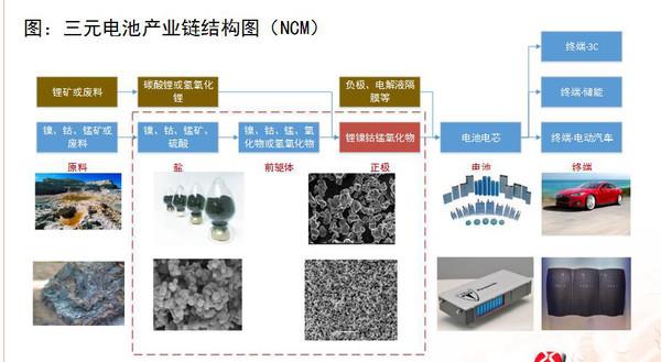 图是三元电池的产业链结构,我们可以看到它和磷酸铁锂电池最大的