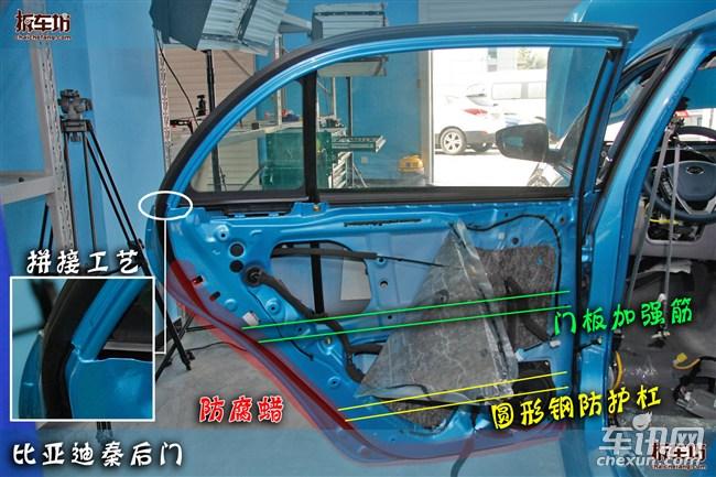 """门板防护小结:比亚迪秦前后门焊接工艺以及防护方式虽然很""""普通""""、很""""日韩""""。普通:门板的基本结构中规中矩,日韩:门板焊接方式以及防护杠结构为日韩风格。但门板的隔音用料以及门板的防腐工艺却是与众不同的,内饰板+防潮层双层隔音材料的使用在自主品牌车型中很是少见,更不用说门板底部喷涂防腐蜡更是罕见。在这两方面可见厂家的细心与厚道。   整车防护之中控内饰   中控内部是最容易被忽略的地方,不少车型也喜欢在这个地方""""动心思""""。对于消费者"""