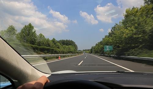 南方的高速公路景色比北方的强太多了,道路两侧植被茂盛,树木高大