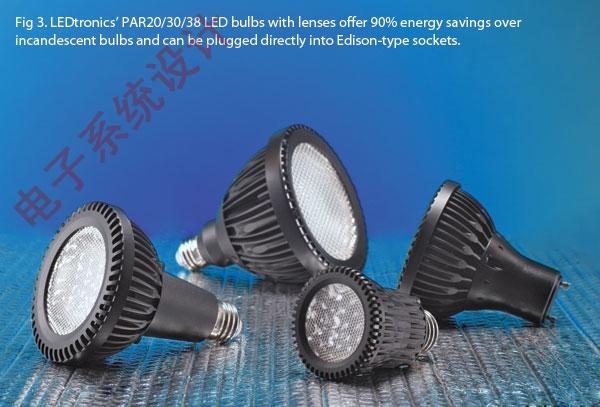 LEDtronics公司PAR20/30/38系列LED灯比白炽灯节能90%,可直接插入爱迪生式螺旋口灯座。