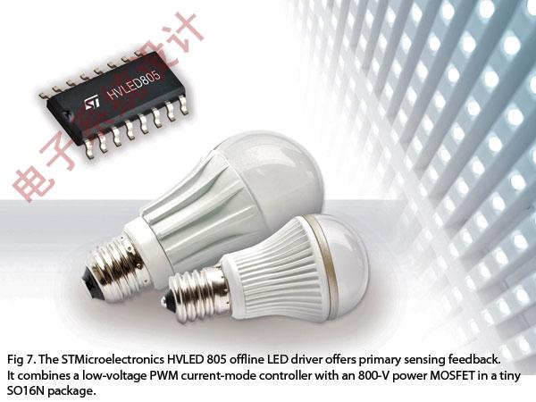 意法半导体HVLED 805的离线LED驱动器具有初级感测反馈。该驱动器将一个低压PWM控制器与一个800V功率MOSFET整合在一个微型SO16N封装中