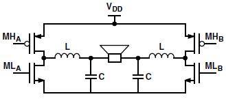 差分开关输出级和LC低通滤波器
