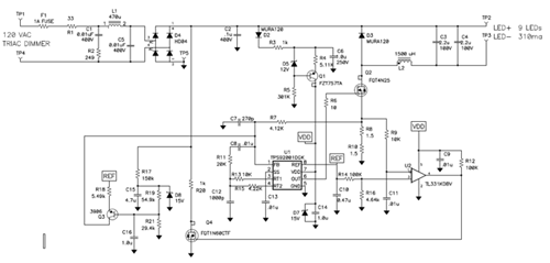 降压调节器实现一个简单的离线LED驱动器