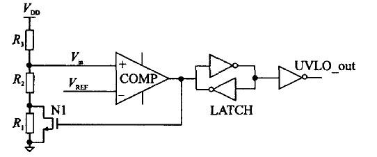 图3 用外部迟滞实现的欠压锁定电路