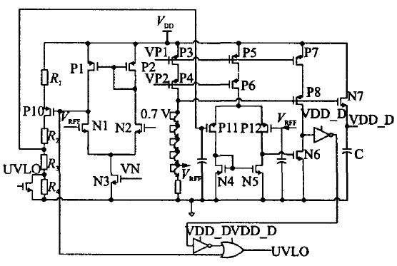 图4 欠压锁定和数字电源的具体电路图