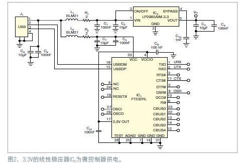 3.3V的线性稳压IC为微控制器供电