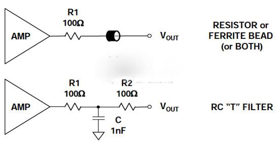 应防止运算放大器和仪表放大器输出受到emi/rfi的影响,尤其在驱动长