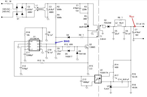 这种5V/5W反向通过限制峰值变压器电流实现功率限制