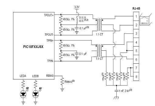 4.1 网络接口电路   主控器采用PIC18F66J60,是microchip公司新推出的一款以太网微控制器,具有出色的计算性能、丰富的功能集以及极具竞争力的价格,包括一系列串行通信外设,多至2个独立增强型USART 和2个主控SSP模块,能够进行SPI 和I2C? (主控和从动)模式操作,具有嵌入式以太网控制器模块。   本文的连接解决方案,完全实现介质访问控制和物理层收发器模块,只需使用两个脉冲变压器和一些无源器件即可将单片机直接与以太网相连。网络接口电路如图4所示,TPIN+/TPIN- 和T
