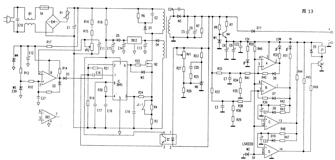 UC38xx和TL494类似,内部含有振荡器(OSC),误差放大器、脉宽调制(PWM),参考电压产生等PWM专用芯片必备的内电路。还具有三个特点,图腾柱式输出电路,输出电流可达1A,可直接驱动功率开关VDMOS管:具有内部可调整的参考电源。可以进行欠压锁定;这个带锁定的PWM,可以进行逐个脉冲的电流限制,也叫逐周(期)限制。   图13中R18、D5、N5等组成启动和供电电路。加电瞬间。市电整流滤波后的平滑直流电通过R18给UC3845脚以启动供电,此时D5反偏截止。UC3845工作后,开关变压器各