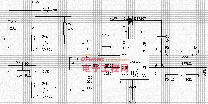 图 9 反相延时驱动电路   该芯片为而输出高压栅极驱动器,14 脚双列直插,驱动信号延时为ns 级,开关频率可从几十赫兹到几百千赫兹。IR2110 具有二路输入信号和二路输出信号,其中二路输出信号中的一路具有电平转换功能,可直接驱动高压侧的功率器件。该驱动器可与主电路共地运行,且只需一路控制电源,克服了常规驱动器需要多路隔离电源的缺点,大大简化了硬件设计。IR2110 就简易真值图如下图9 所示。