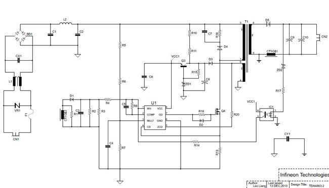 基于TDA4863-2的单级PFC反激LED电源设计与仿真