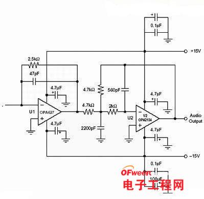 dac数模转换后缓冲低通滤波电路