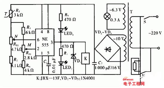 电路工作原理:220V市电经变压器T降压、VD2一VD5桥式整流、C2滤波后供给整个电路。开关S闭合后,由于此时M点电位低于1/3Vcc,555电路被置位,输出端3脚为高电平,继电器K吸合,触点K-1接通所控加热电路,使温度卜升,同时发光二极管LED指示。