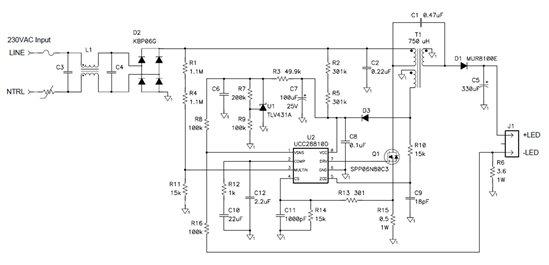 何以以单级方法驱触动带功比值因数校阅的LED